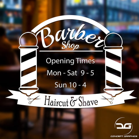 Haircut & Shave Personalised Barbershop Opening Times Hours Vinyl Decal Sticker Sign