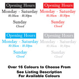 Simple Bespoke Personalised Opening Times Window Vinyl Sign Colours Available