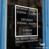 Box Effect Personalised Custom Opening Hours Vinyl Window Sign