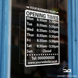 Custom Opening Hours/Times Window Sign