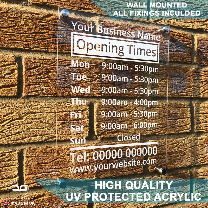 Custom Personalised Business Wall Mounted Acrylic Opening Times Sign