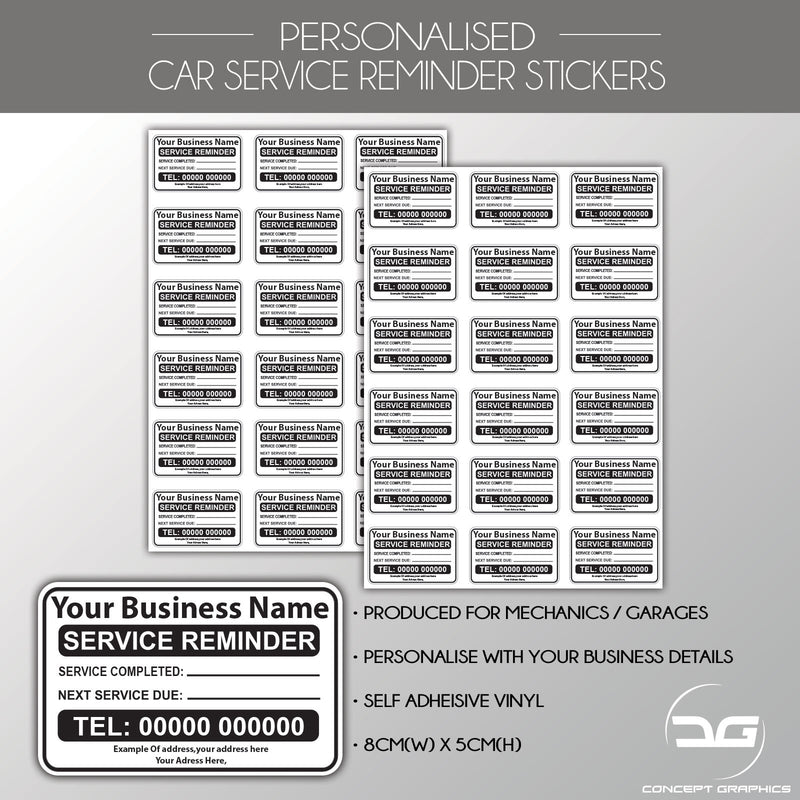 Personalised Car, Van, Truck Service Reminder Garage Label Stickers