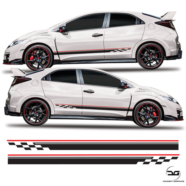 Honda Civic Checkered Side Stripes