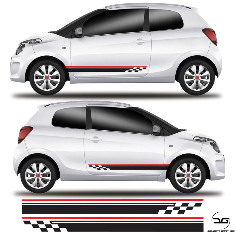 Chequered Racing Low Side Stripe For Citroen C1