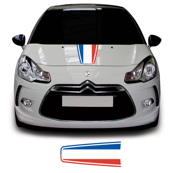 Citroen DS3 2010 Onwards French Flag Bonnet Racing Stripe Vinyl Decal Sticker Graphic