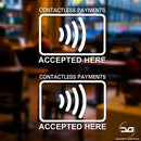 2x Contactless Payment Accepted Here Vinyl Decal Sticker Signs