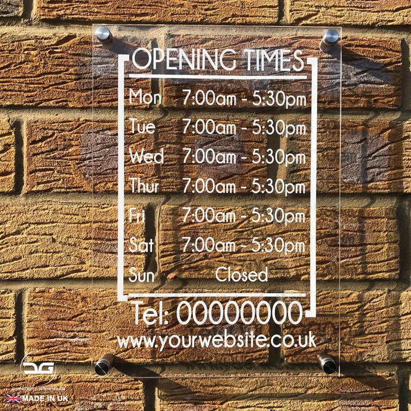 Modern Personalised Wall Mounted Acrylic Opening Times Hours Sign