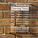 Custom Personalised Business Wall Mounted Acrylic Opening Times Hours Sign