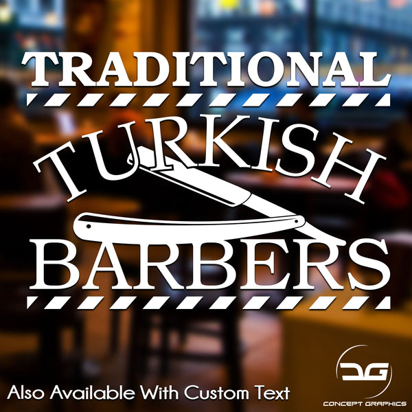Traditional Turkish Barber Shop Personalised Vinyl Decal Sticker Sign