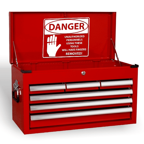 Danger Finger Removal Funny Novelty Garage Workshop Tool Box Vinyl Decal Sticker
