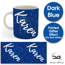 Custom Personalised Name Printed Dark Blue Glitter Effect Coffee Mug Cup