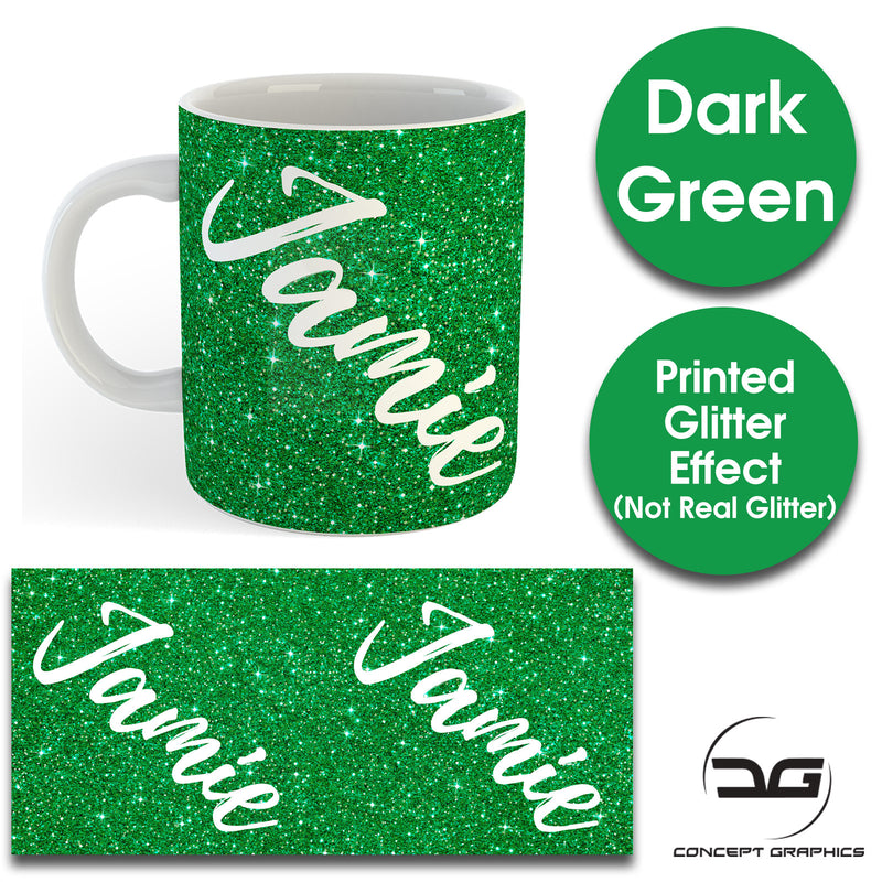 Custom Personalised Name Printed Dark Green Glitter Effect Coffee Mug Cup