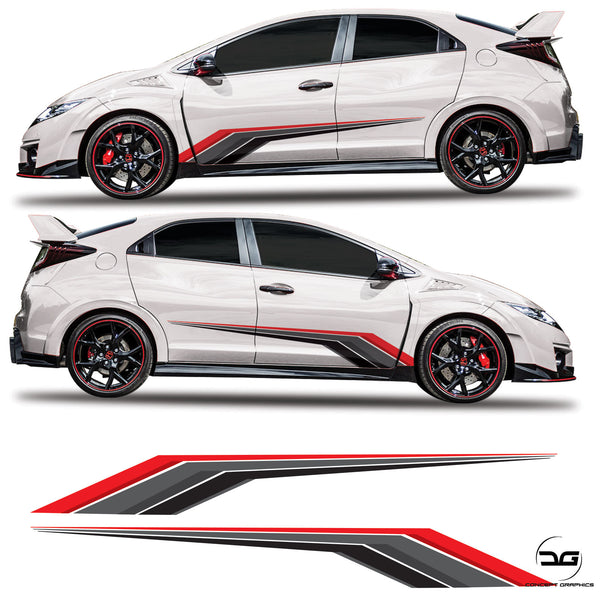 Honda Civic Type R FK2 racing Side Stripes graphics kit