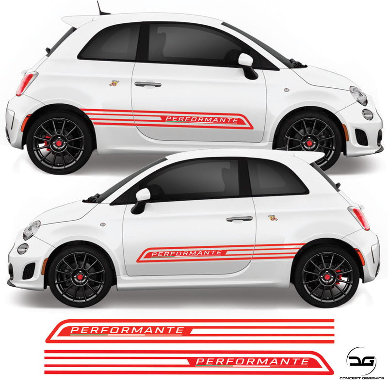 Fiat 500 Abarth 2008 Onwards Performante Italian Flag Side Stripe Vinyl Decal Sticker Graphics