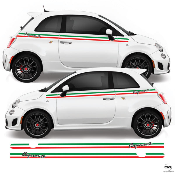 Fiat 500 Abarth 2008 Onwards Cinquecento Italian Flag Side Stripe Vinyl Decal Sticker Graphics