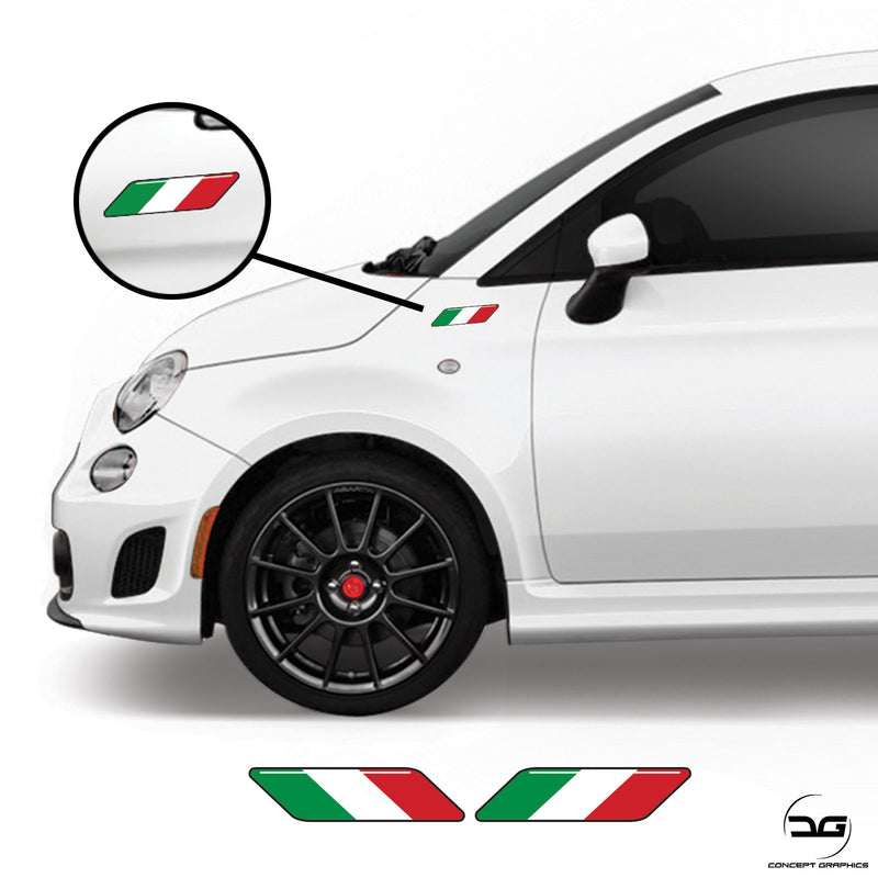 Fiat 500 595 695 Abarth 2008 Onwards Scorpion Italian Flag Side Wing Stripe Vinyl Decal Stickers