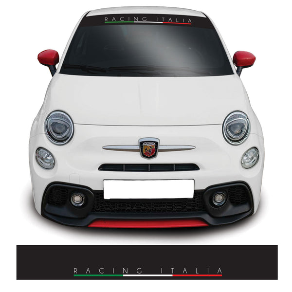 Fiat 500 Racing Italia Windscreen Sunstrip Banner Vinyl Decal Sticker Graphic