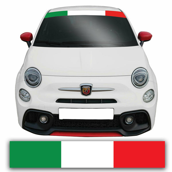 Fiat 500 Italian Flag Stripe Windscreen Sunstrip Banner Sticker Graphic