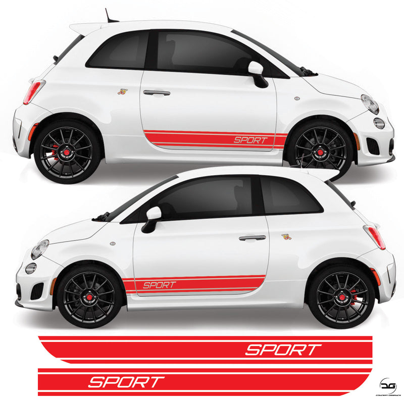 Fiat 500 Abarth 2008 Onwards Sport Side Stripes Vinyl Decal Sticker Graphics