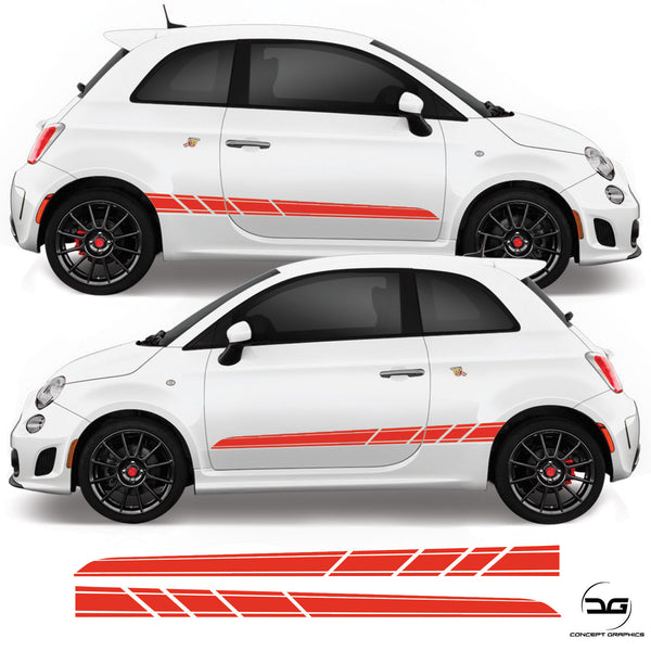 Fiat 500 595 696 Abarth 2008 Onwards Side Stripe Vinyl Decal Sticker Graphics
