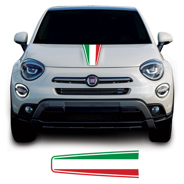 Fiat 500 X 2014 Onwards SUV Italian Flag Bonnet Racing Stripe Vinyl Decal Sticker Graphic