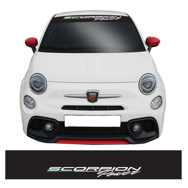 Fiat 500 Abarth Scorpion Power Windscreen Sunstrip Banner Vinyl Decal Sticker