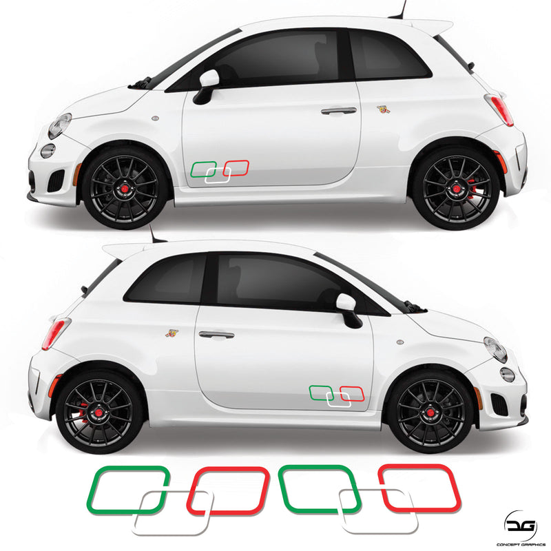 Abarth Fiat 500 595 Side Door Squares racing stripes kit