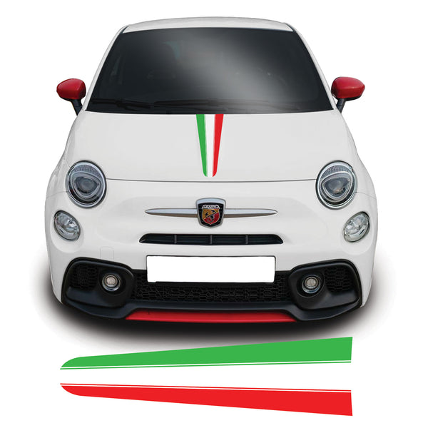 Fiat 500, 595, 695 Abarth 2008 onwards Italian Flag Bonnet Racing Stripe Vinyl Decal Sticker Graphic
