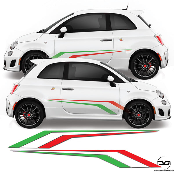 Fiat 500 Abarth Italian Flag Racing Side Stripe Sticker Graphics Kit