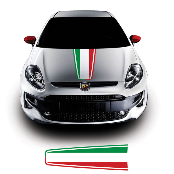 Fiat Punto Evo 2009 Onwards Italian Flag Bonnet Racing Stripe Vinyl Decal Sticker Graphic