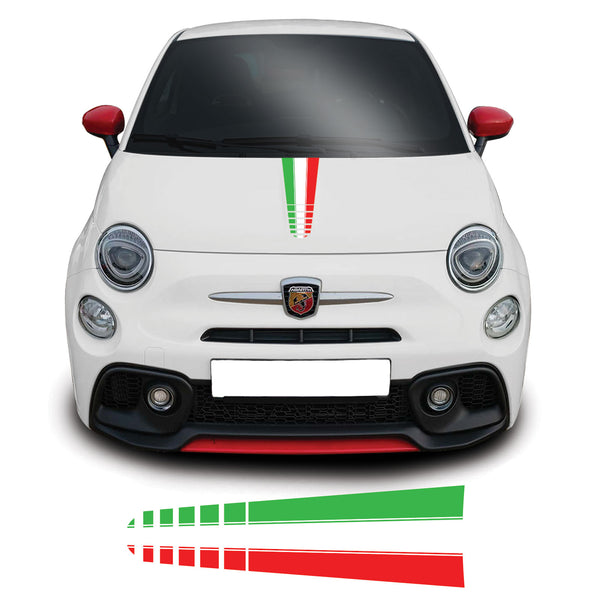 Fiat 500 Abarth Italian Flag Line Fade Bonnet Stripe Vinyl Decal Sticker