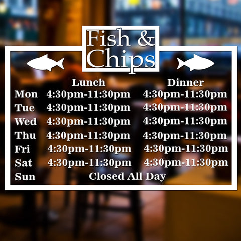 Fish & Chip Shop Personalised Custom Opening Hours Times Window, Door, Wall Sign