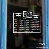 Fish & Chip Shop Custom Opening Times/Hours Window Sign