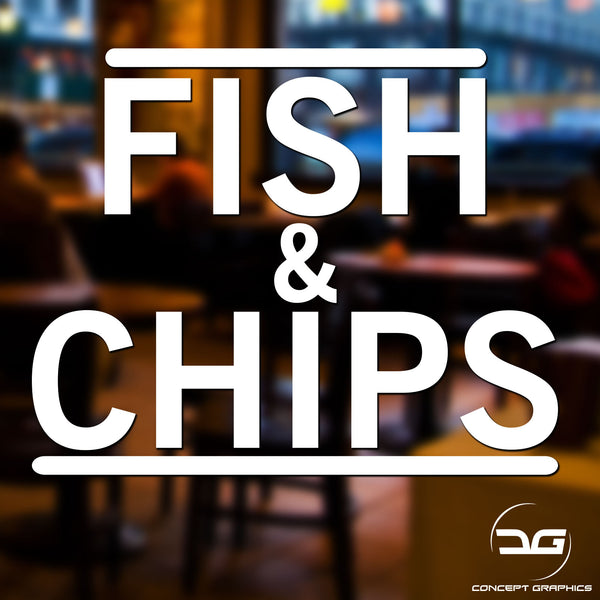 Fish & Chips Takeaway Window Vinyl Decal Sign