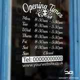 Floral Personalised Custom Opening Hours Window Sign Door Example