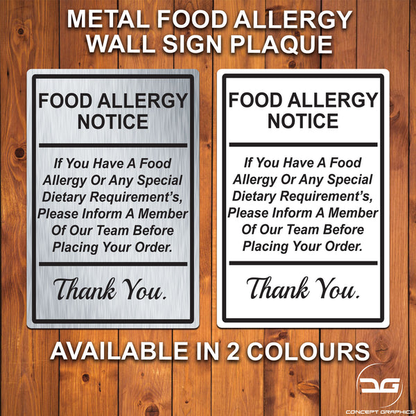 Food Allergy Safety Notice Wall Mounted Metal Plaque