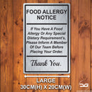 Food Allergy Safety Notice Wall Mounted Metal Plaque Large Brushed Silver