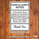 Food Allergy Safety Notice Wall Mounted Metal Plaque Large White