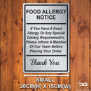 Food Allergy Safety Notice Wall Mounted Metal Plaque Small Brushed Silver