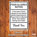 Food Allergy Safety Notice Wall Mounted Metal Plaque Small White