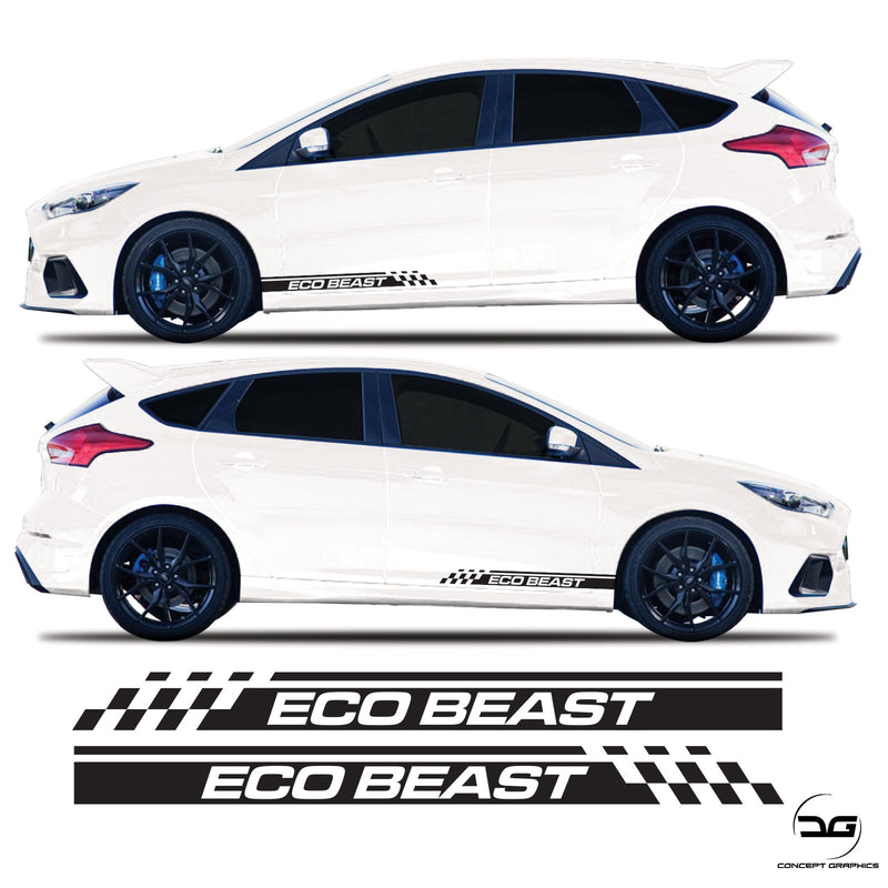 Ford Focus MK3 ST Eco Boost Side Stripes Racing