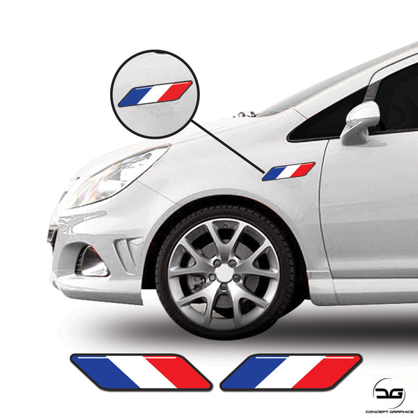 French Flag Stripe Euro Car Side Wing Decal Fits Renault, Citroen Vinyl Stickers