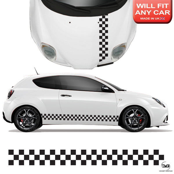 Universal Chequered Car Racing Side Stripes Graphics Sticker Kit