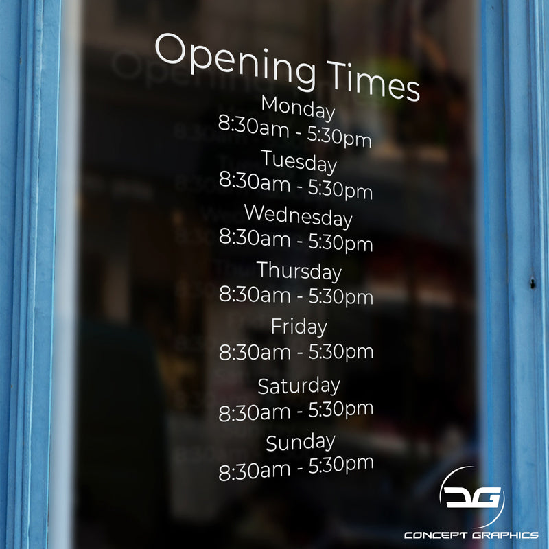 Simple Opening Hours Times Business Window, Wall, Door Sign Door Example