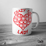 Crazy Cat Lady Paw Print Love Heart Funny Novelty Mug/Cup