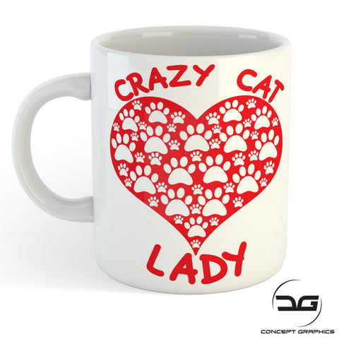Crazy Cat Lady Paw Print Love Heart Funny Mug/Cup
