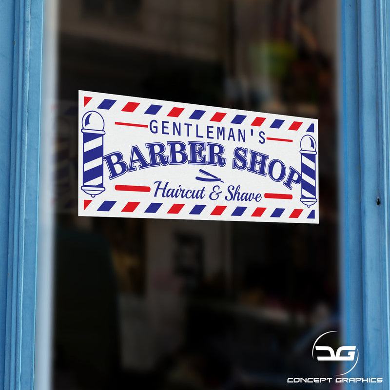 Gentleman's Barber Shop Hair Cut & Shave Colour Sticker Sign