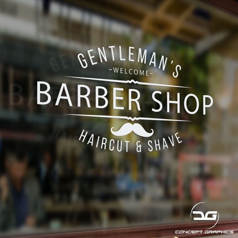 Gentleman's Barber Shop Window Wall Vinyl Decal Sticker Sign