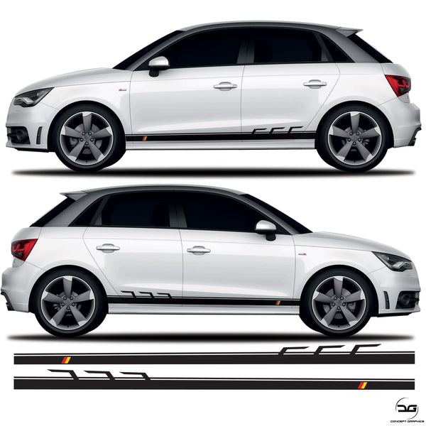 German Flag Racing Side Stripe Graphics for Audi A1 S1
