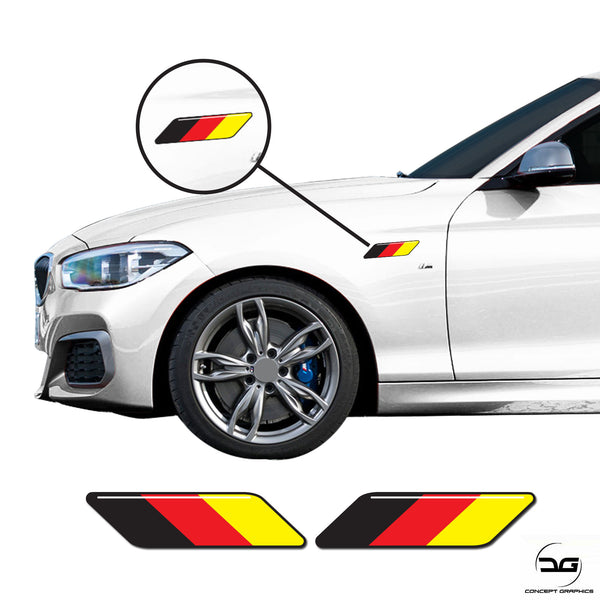 German Flag Side Euro Car Wing Stripes Fits BWM, Audi, VW Vinyl Decal Stickers